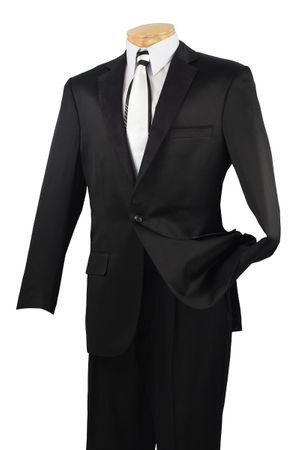 Empire Mens Black Dinner Jacket Suede Lapel B-21 - click to enlarge