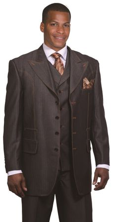 Milano Moda Black Denim Style Wool Touch Vested Urban Men Suits 5608V