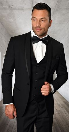 Statement Mens 3 Piece Black Modern Fit Tuxedo Caesar