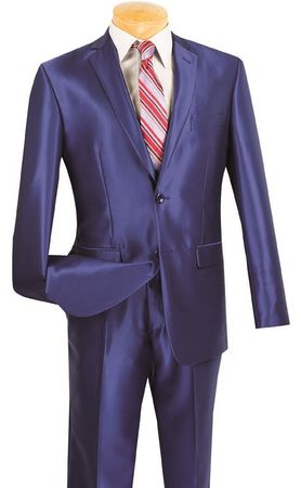 Vinci Men's Shiny Blue Slim Fit Suit Skinny Style S2RK-5