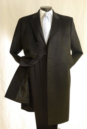 Mens Black Cashmere Feel Overcoat Knee Length COAT03 - click to enlarge