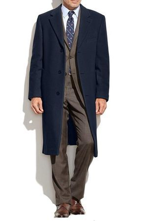 Mens Navy Blue Cashmere Feel Overcoat COAT03 IS Size 46L