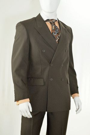 Men's Brown Color Double Breasted Suit Vinci DC900-1