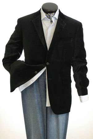 Mens Black Velvet Blazer by Tony Blake 2 Button SR4 - click to enlarge