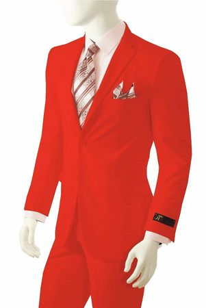 Mens Bright Red Suit Vittorio St. Angelo A72TE - click to enlarge