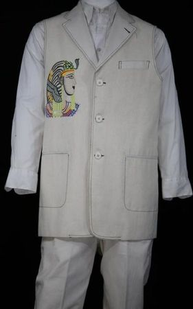 Canto Mens White Egyptian Embroidered Pattern Denim Long Vest Outfit 9081