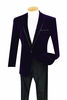 Vinci Mens Purple Velvet Blazers 1 Button B-16