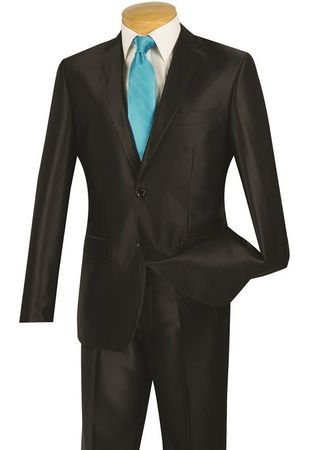 Vinci Men's Shiny Black Slim Fit Suit Skinny Style S2RK-5