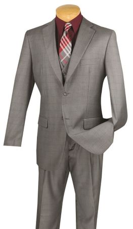 Vinci 3 Piece Suit Mens Gray Window Pane Pattern V2RW-11 - click to enlarge