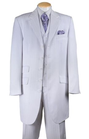 Mens White Zoot Suit Shadow Stripe Style Jacket Vest Pants Fortini 29198 - click to enlarge