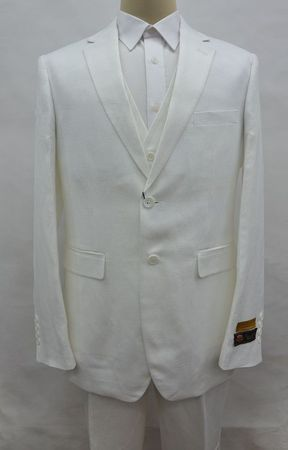White Linen Suit Men's Summer 3 Piece Alberto Linen-2BV