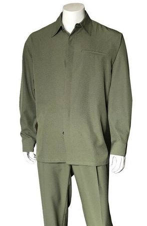 Walking Suit for Men Olive Teju Print Long Sleeve Fortino M2763