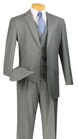 Wedding Suits for Men Gray 3 Piece Flat Front Vinci V2TR