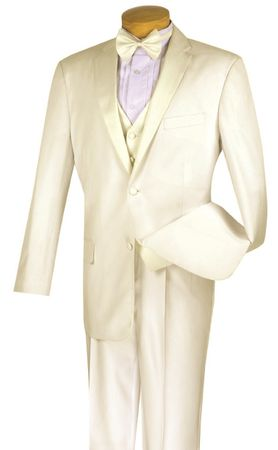 Men's Wedding Suit Stylish Ivory Cream Tuxedo 4 Piece 4TV-1