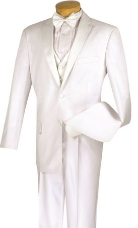 Wedding Suits Italian Style All White Fancy Vested 4 Piece Tuxedo 4TV-1