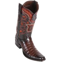 Western Boots for Men Brown Crocodile European Square Toe Los Altos 768216