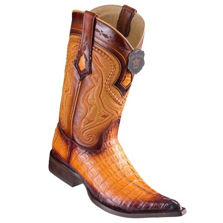 Western Boots for Men Gold Crocodile Tail Pointed Toe Los Altos 9530116