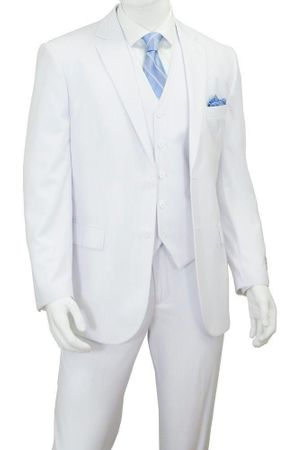 White 3 Piece Suit Mens Flat Front Pants Vittorio TM62F - click to enlarge