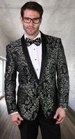 Statement Blazer For Men Black/Silver Tapestry Pattern  LJ 100