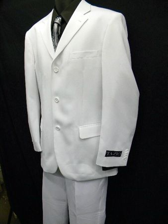 Mens All White Suit 3 Button 2 Piece Pleated Pants 3PP