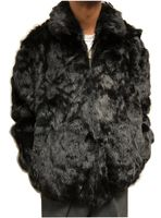 Winter Fur Mens Black Rabbit Fur Hooded Jacket
