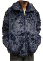 Winter Fur Mens Blue Rabbit Fur Hooded Jacket