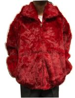 Winter Fur Mens Red Rabbit Fur Hooded Jacket