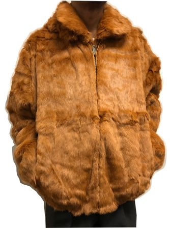 Winter Fur Mens Rust Rabbit Fur Hooded Jacket