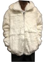 Winter Fur Mens White Rabbit Fur Hooded Jacket