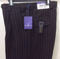 Blu Martini Mens Pleated Black Red Stripe Dress Pants 4017 Arch IS