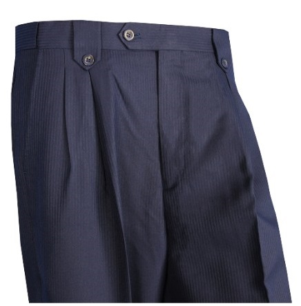 Blu Martini Mens Pleated Shadow Stripe Dress Slacks 5468 Leo IS