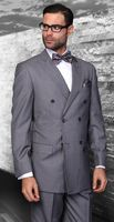 Wool Double Breasted Charcoal Pinstripe Suit Alberto DB-1 pin