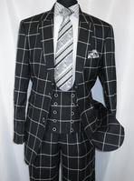 EJ Samuel Mens Black Square Plaid Vintage Style Suit M2698 IS
