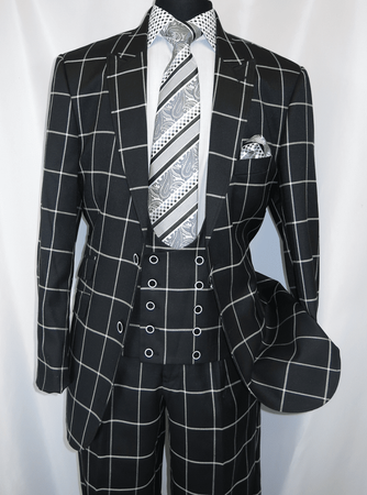 EJ Samuel Mens Black Square Plaid Vintage Style Suit M2698 Size 50L