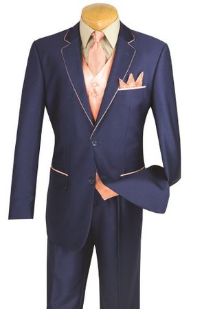 Vinci 5 Piece Blue Peach Special Occasion Suit 23SS-4