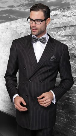 Wool Black Pinstripe Double Breasted Suit Alberto DB-1 Pins