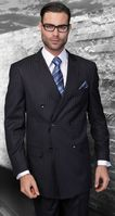 Wool Pinstripe Double Breasted Suit Navy Blue Alberto Nardoni DB-1 pin