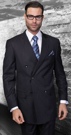 Wool Pinstripe Double Breasted Suit Navy Blue Alberto Nardoni DB-1 pin - click to enlarge