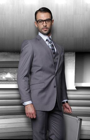 Men's Wool Suits Charcoal Grey 2 Button by Statement TZ-100 - click to enlarge