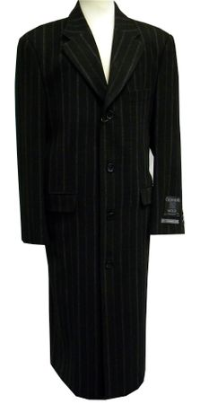 Xxiotti Mens Full Length Black Stripe Cashmere Blend Overcoat 77900  - click to enlarge