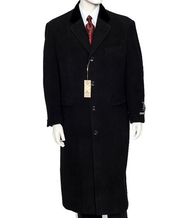 Xxiotti Mens Black Chesterfield Overcoat Cashmere Blend 77000 IS  - click to enlarge