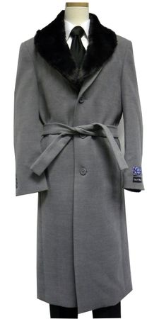 Blu Martini Mens Full Length Fur Collar Gray Belted Wool Overcoat 4150-101 Vance - click to enlarge