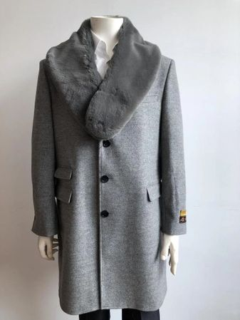 Mens Fur Collar Wool Car Coat Gray Car-Coat Alberto IS - click to enlarge