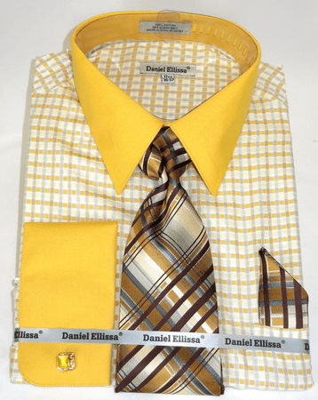Gold Plaid Shirts with Ties French Cuff Daniel Ellissa DS3805P2