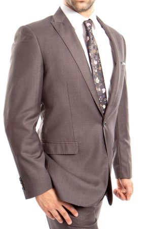 Young Mens Gray Slim Fitted Suit 1 Button Flat Front Tazio M211S-04