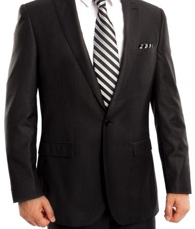 Young Men's Slim Cut Suit Basic Black 1 Button Tapered Tazio M211S - click to enlarge