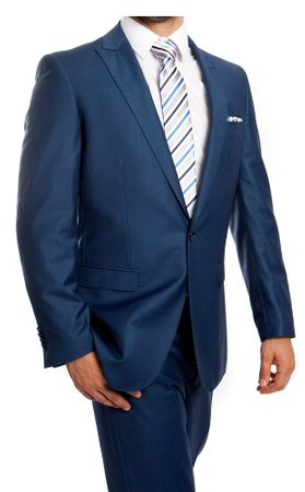 Young Men's Slim Fitted Suit New Blue One Button Flat Front Tazio M211S-07