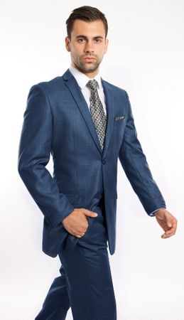 Young Men's Slim Look Suit Blue Sharkskin Tailored Center Vented Tazio M181S-06 - click to enlarge