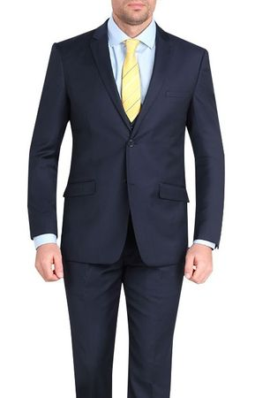 Young Men's Slim Fit Cut Suits Navy Stylish Tapered Leg M211S
