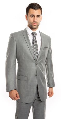 Young Man Slim Fitting Suits Heather Gray Sharkskin Plain Front Tazio M181S-04